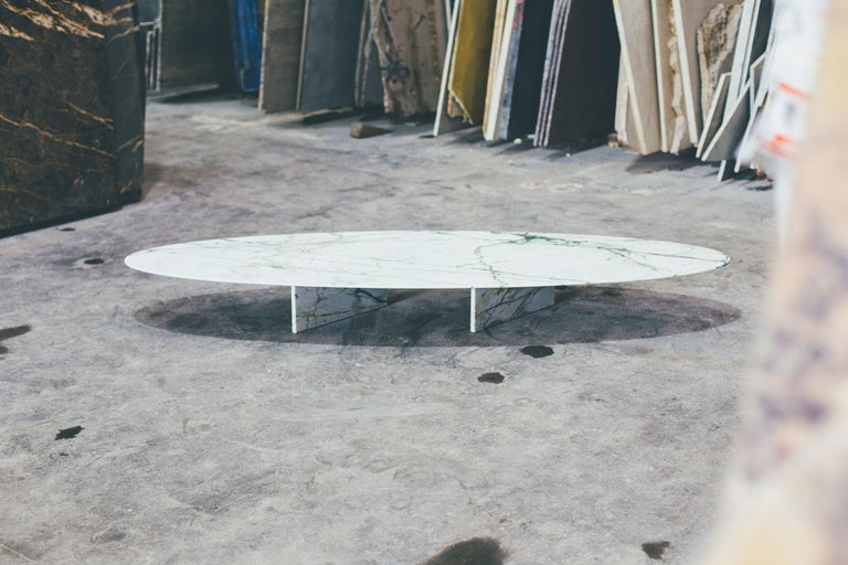 Other contemporary marble side table or coffee table, ellipse 01.4 c by barh For Sale