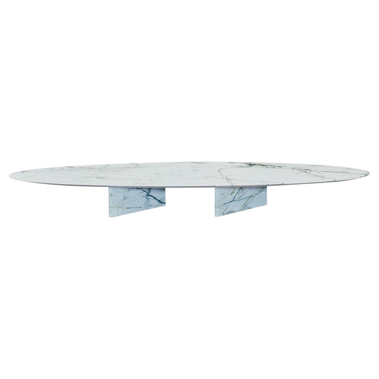 contemporary marble side table or coffee table, ellipse 01.4 c by barh For Sale