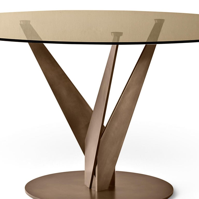 Italian Ellipse Brass and Bronzed Table For Sale