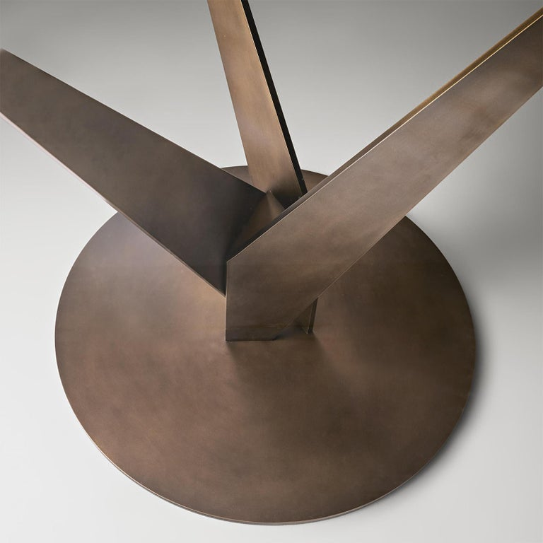 Contemporary Ellipse Brass and Bronzed Table For Sale