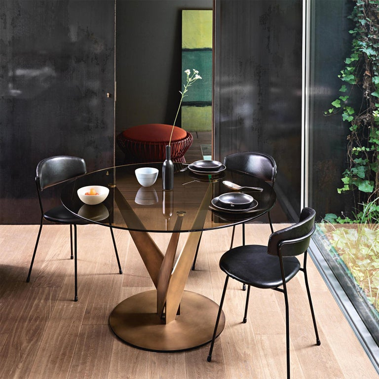 Ellipse Brass and Bronzed Table For Sale 2