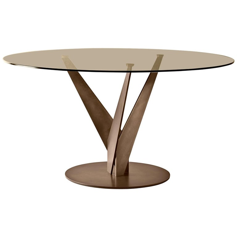 Ellipse Brass and Bronzed Table For Sale