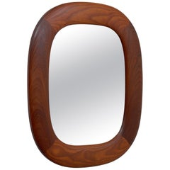 Elliptic Swedish Teak Wall Mirror from AB Glas & Trä, 1960s