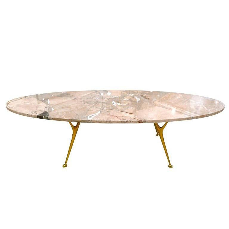 Elliptical Italian Marble Cocktail Table with Cast Solid Bronze Legs For Sale