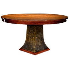 Elliptical Bolivian Rosewood and Steel Center Hall or Dining Table