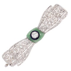Ellis Brothers Diamond Jade Onyx White Gold Brooch