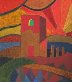A love story in Rome - 21 century, Oil abstract painting, Landscape, Colorful