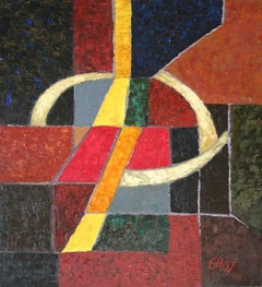 Night rendez-vous - Oil abstract painting, Dark colors, Geometric, Colorful