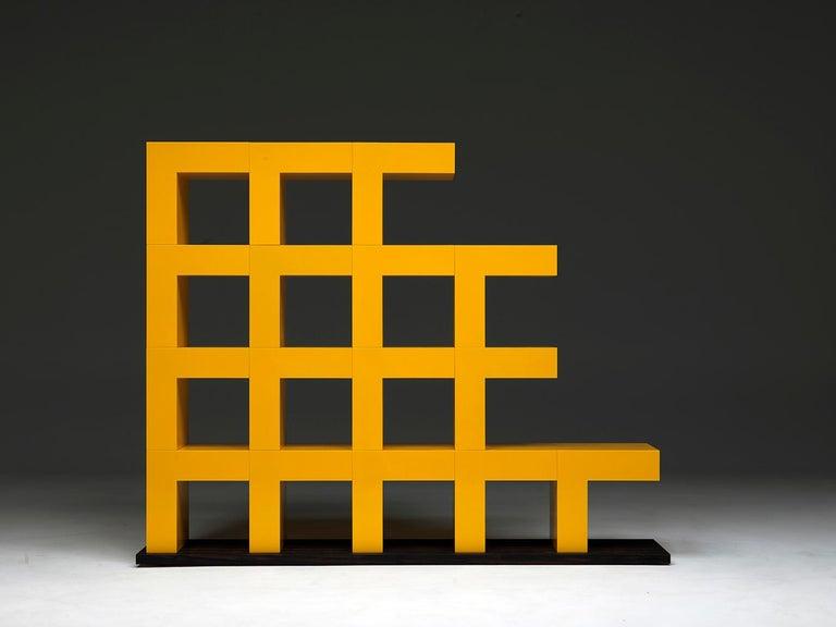 Ellissima M Modular Glossy Bookcase with Base in Ziricote Wood by Aldo Cibic 2