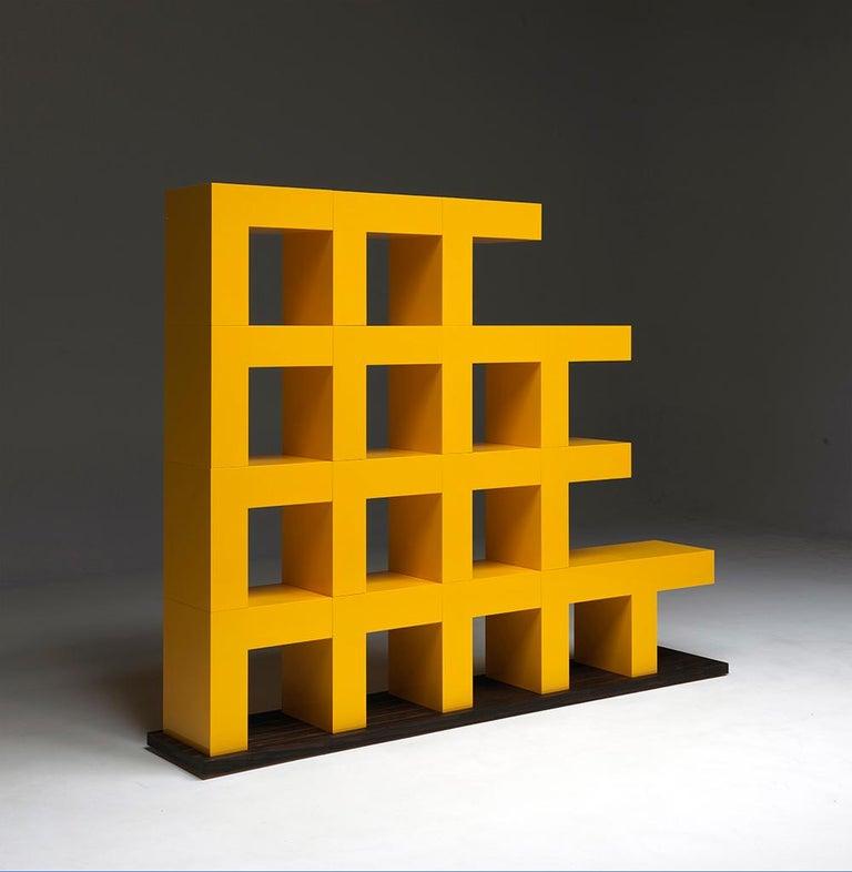 Ellissima M Modular Glossy Bookcase with Base in Ziricote Wood by Aldo Cibic 3
