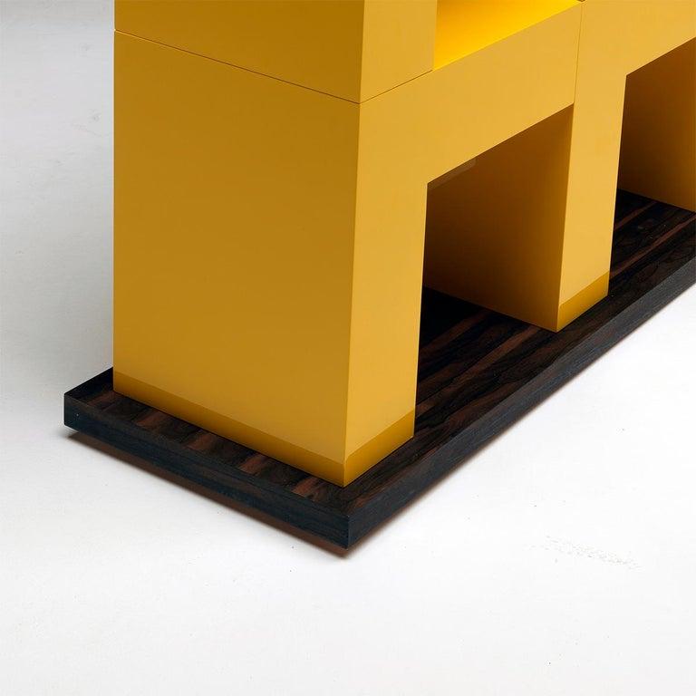 Ellissima M Modular Glossy Bookcase with Base in Ziricote Wood by Aldo Cibic 4