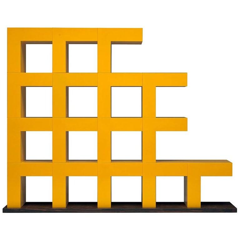 Ellissima M Modulares Glänzendes Bücherregal mit Basis in Zirikote Holz von Aldo Cibic 1