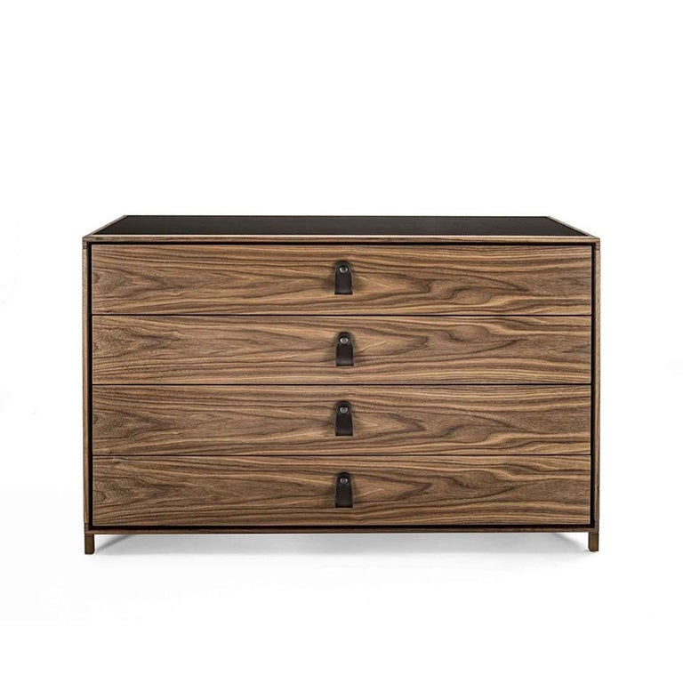 Chest of drawers ellite with structure in solid walnut wood,