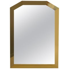 Mid-century Ello 1980s Glam Brass Framed Angular Mirror