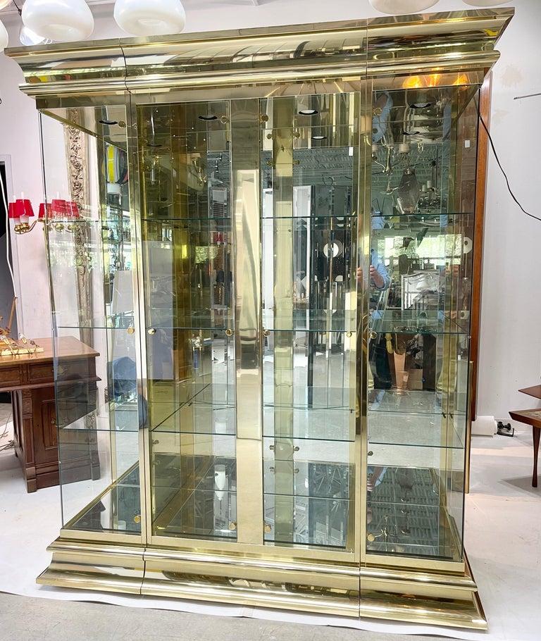 Ello Brass & Mirror Triple Front Vitrine For Sale 4