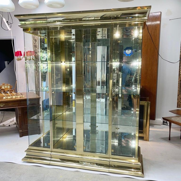 Ello Brass & Mirror Triple Front Vitrine For Sale 5