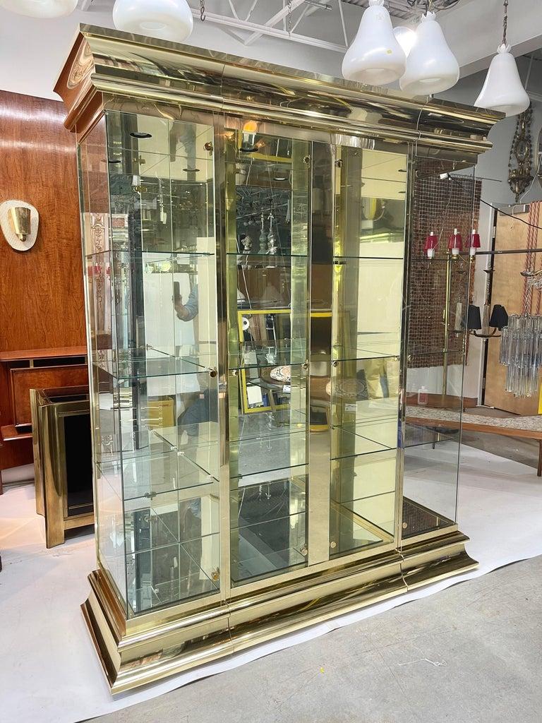 Ello Brass & Mirror Triple Front Vitrine For Sale 6