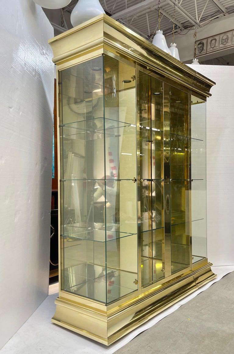 Ello Brass & Mirror Triple Front Vitrine For Sale 8