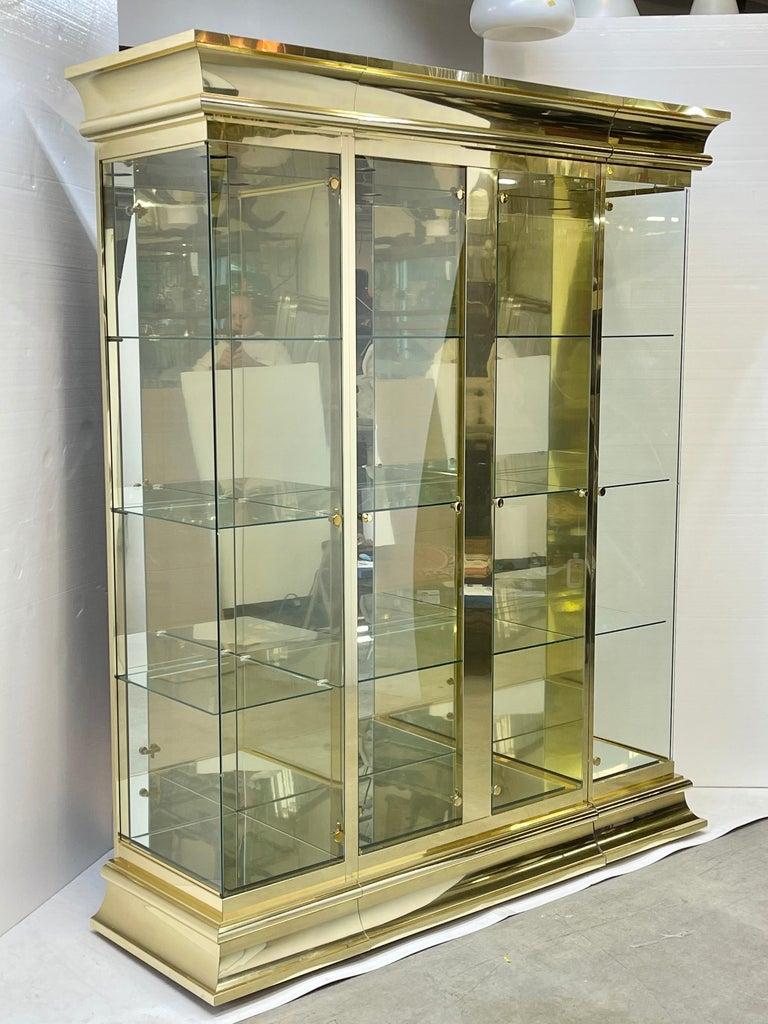 Ello Brass & Mirror Triple Front Vitrine For Sale 9