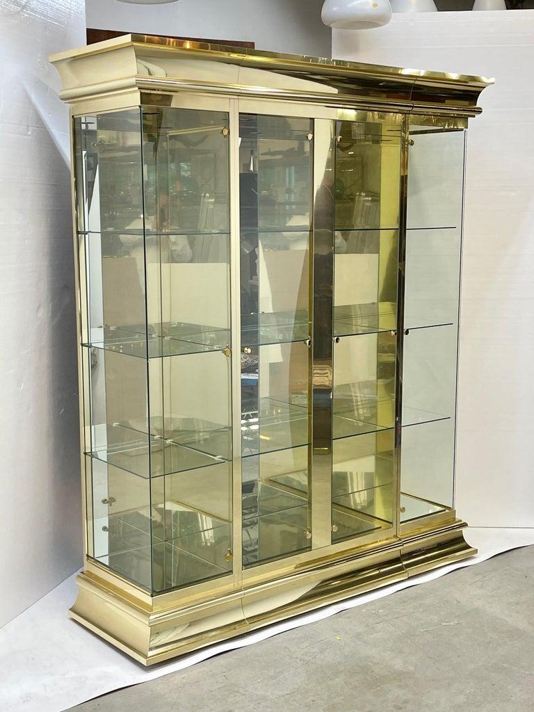 Ello Brass & Mirror Triple Front Vitrine For Sale 10