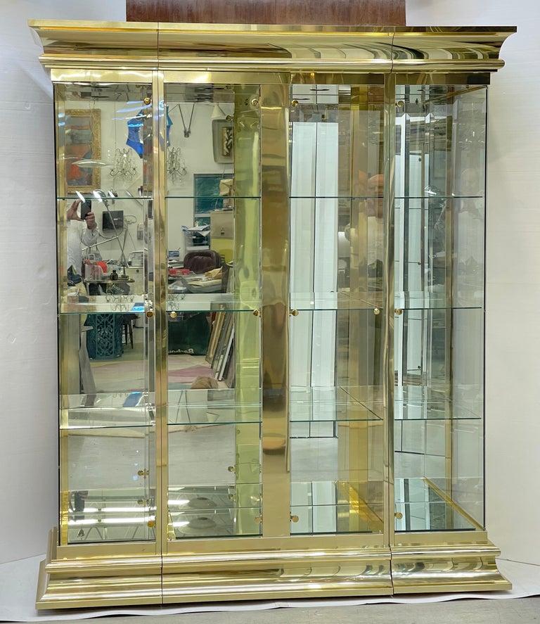 Ello Brass & Mirror Triple Front Vitrine For Sale 11