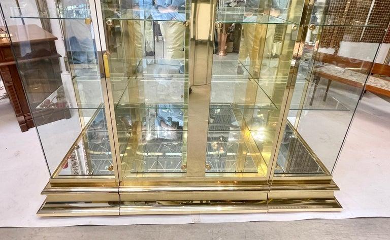 American Classical Ello Brass & Mirror Triple Front Vitrine For Sale