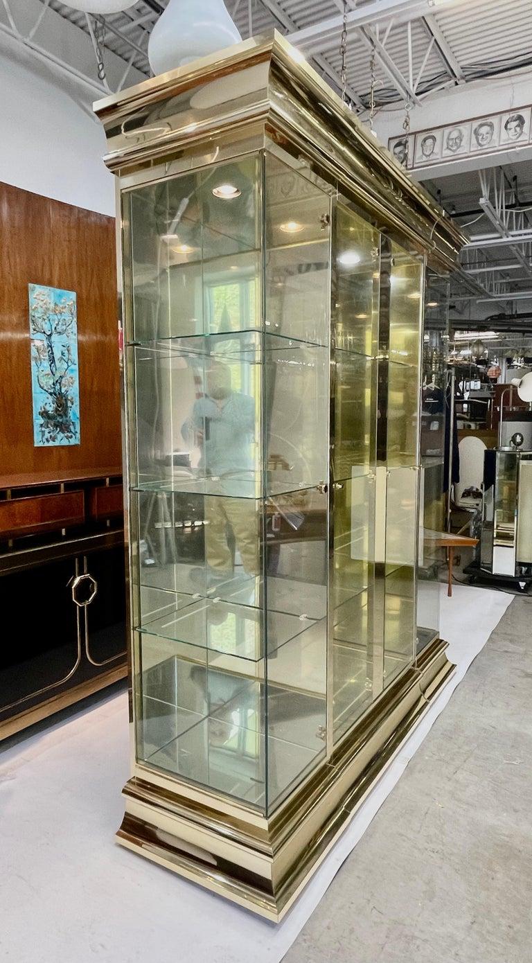 American Ello Brass & Mirror Triple Front Vitrine For Sale
