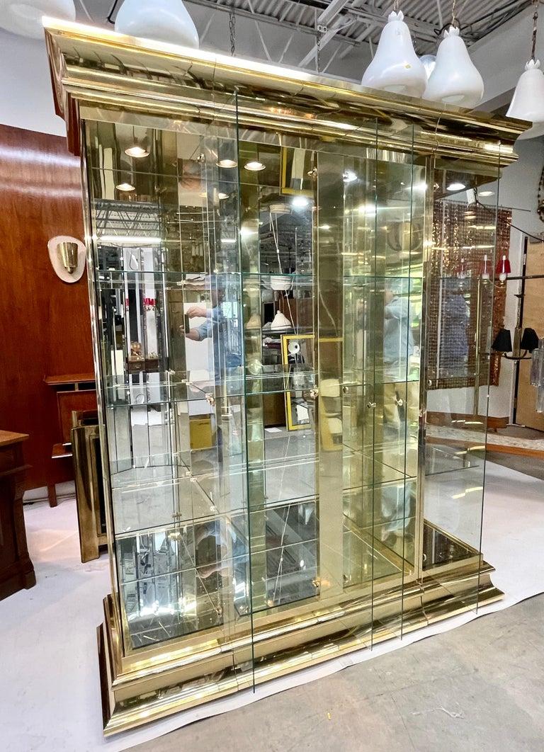 Late 20th Century Ello Brass & Mirror Triple Front Vitrine For Sale