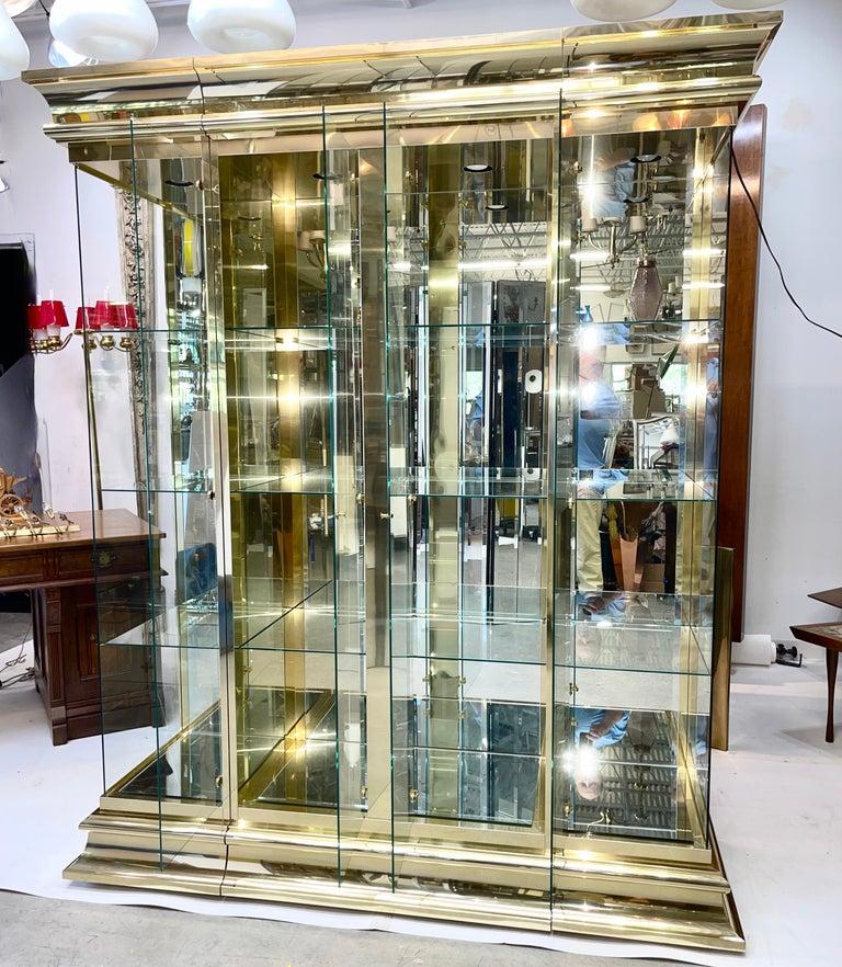 Ello Brass & Mirror Triple Front Vitrine For Sale 1