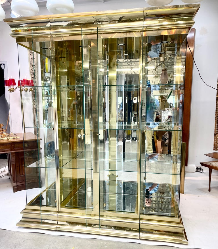 Ello Brass & Mirror Triple Front Vitrine For Sale 2