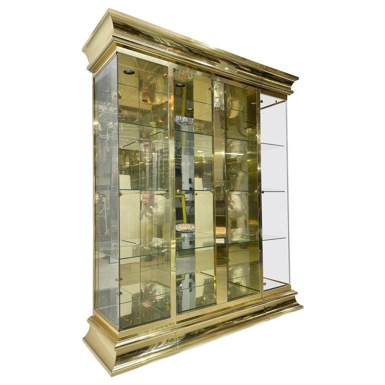 Ello Brass & Mirror Triple Front Vitrine For Sale