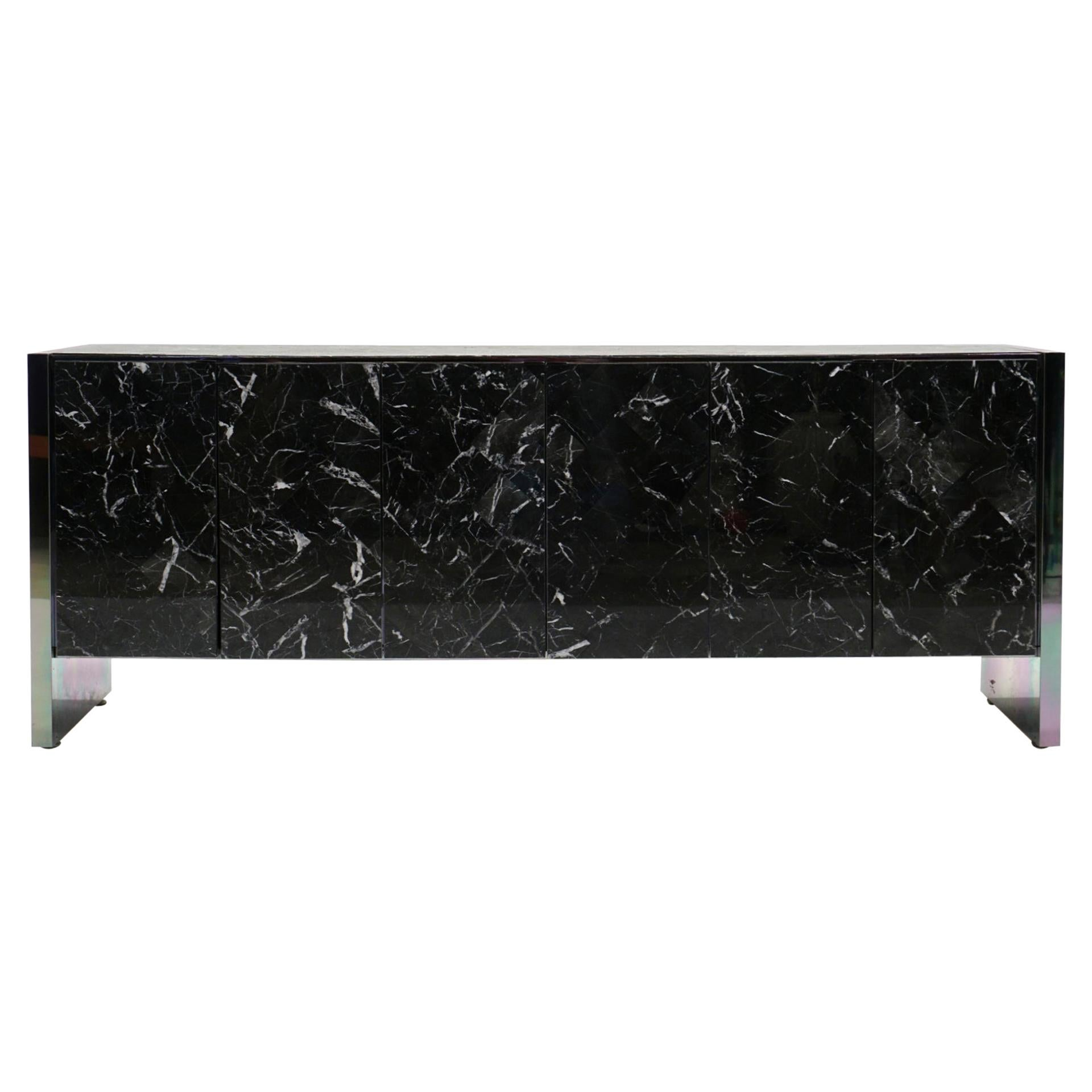 Ello Credenza in Black and White Tessellated Marble, Chrome Sides