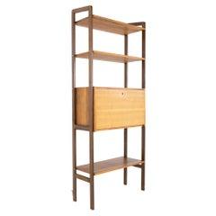 Ello Mid Century Free Standing Walnut Bar Desk Wall Unit Shelving