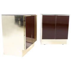 Ello Mid Century Mirror and Brass Nightstands, a Pair