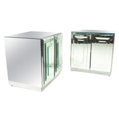 "Ello Mirrored Mid Century ""Skyscraper"" Nightstand, Pair"