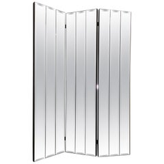 Ello Mirrored Three-Panel Folding Screen or Room Divider