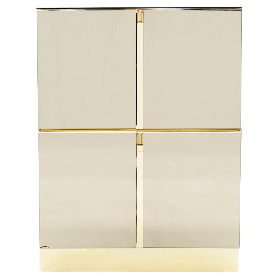 Ello Stacked Storage Cabinets / Dresser / Chest of Drawers, Bronze Mirror, Brass
