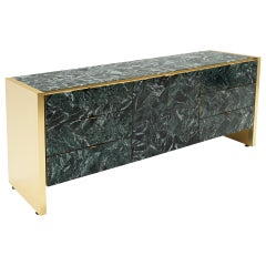 Ello Storage Cabinet, Credenza, Dresser in Tessellated Green Marble and Brass