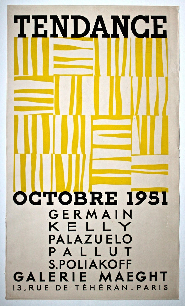 Minimalist Ellsworth Kelly 1951 Galerie Maeght Rare Screen Print Poster