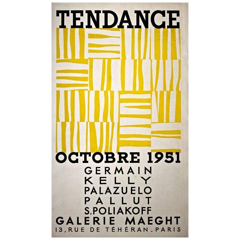 "Ellsworth Kelly 1951 Galerie Maeght Rare Screen Print Poster ""Tendance"" For Sale"