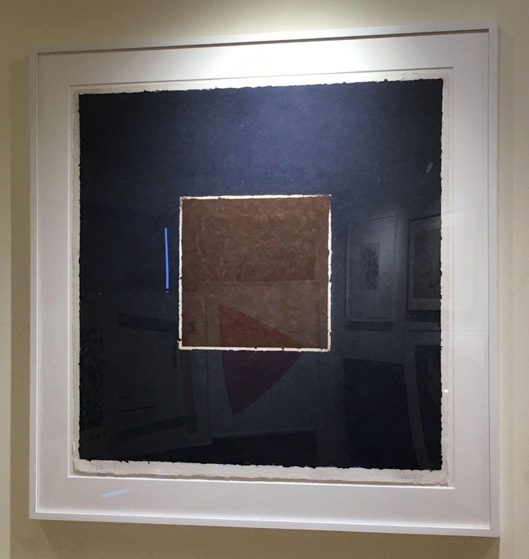 Colored Paper Image XX (Brown Square with Blue), from Colored Paper Images - Print by Ellsworth Kelly