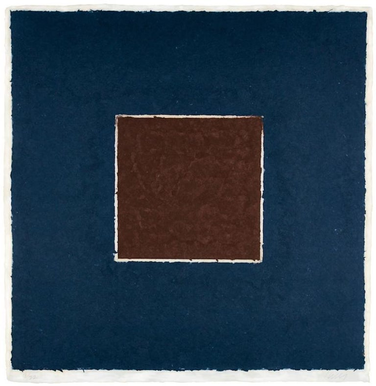 Ellsworth Kelly Abstract Print - Colored Paper Image XX (Brown Square with Blue), from Colored Paper Images