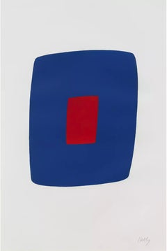 Ellsworth Kelly, Dark Blue with Red, 1964-65, lithograph; minimalist abstraction