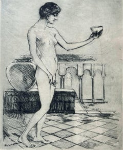 """Nude with Bowl (by leader of """"Southern Art Renaissance"""", Signed)"""
