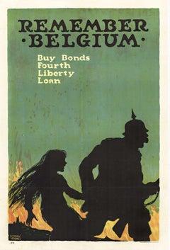Remember Belgium Buy Bonds Fourth Liberty Loan original WW1 vintage poster