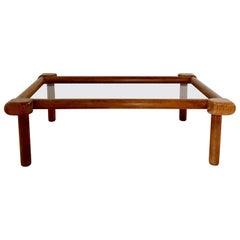 Elm and Glass Coffee Table, circa 1960, France