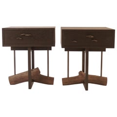 Elm Branch Bedside Table by Chris Lehrecke with 3 Bronze Mushroom Pulls
