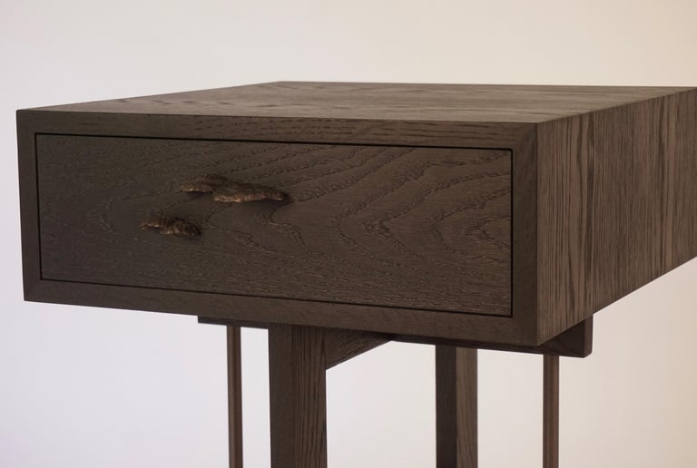 American Elm Branch Bedside Tables by Chris Lehrecke with Bronze Mushroom Pulls For Sale