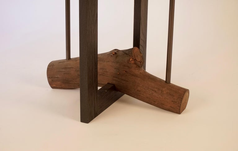 Blackened Elm Branch Bedside Tables by Chris Lehrecke with Bronze Mushroom Pulls For Sale