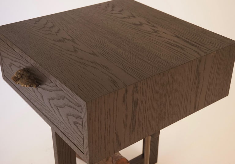 Elm Branch Bedside Tables by Chris Lehrecke with Bronze Mushroom Pulls In New Condition For Sale In Bangall, NY